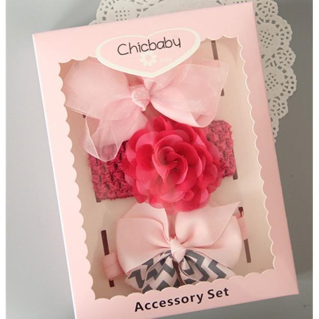 女寶寶玫粉色嬰兒髮帶頭帶飾品髮箍套裝