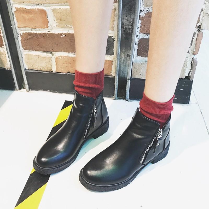 靴短靴 2016 英倫雪地靴女側拉鏈棉鞋加絨馬丁靴百搭中粗跟短筒靴子潮靴子女靴女裝