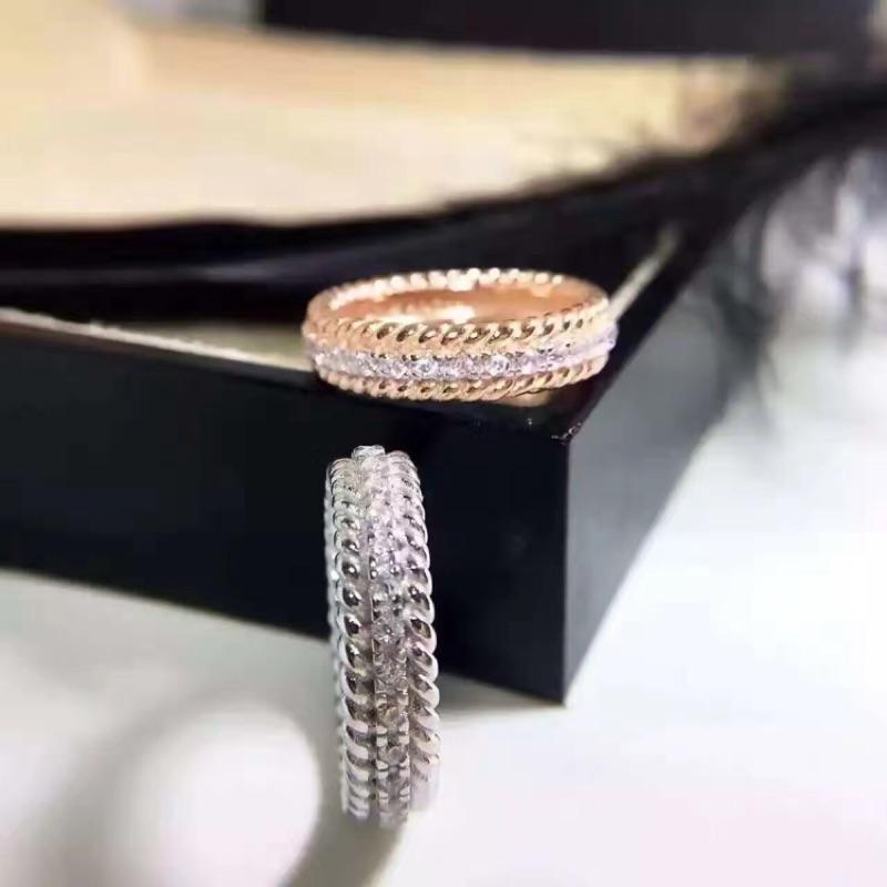 925 純銀戒指蒂芬妮Tiffany 同款麻花雙行鑽石玫瑰金白金戒指定情指環聖誕節情人節生