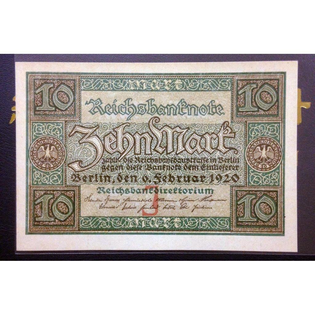 德國馬克紙鈔 UNC 德國1920 2 6 年版10 Mark