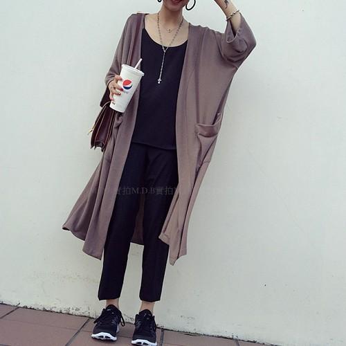 風慵懶寬鬆五分袖大口袋超百搭氣勢長版針織棉罩衫外套ღ2 色NOOH160801 ~M D