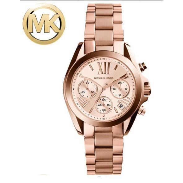 ~迅達貿易~ 貨MICHAEL KORS MK 手錶明星同款三眼鋼帶日曆圓盤石英女士手錶M