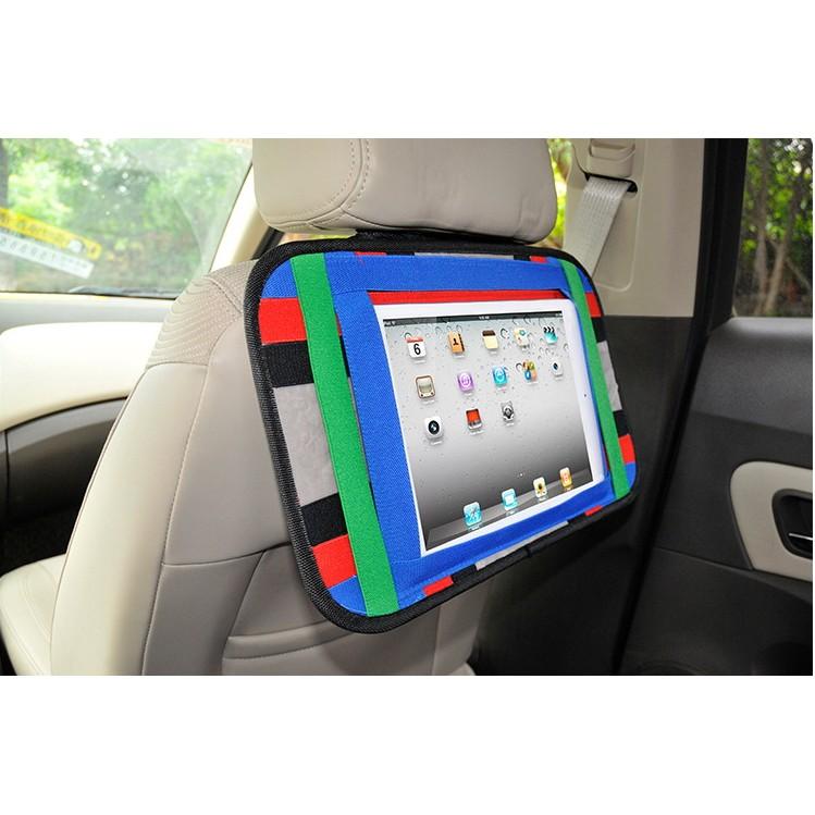 ~撞色車用手機平板多 收納板~ 車載收納包 後座後椅車用支架IPAD 電腦包手機支架汽車用