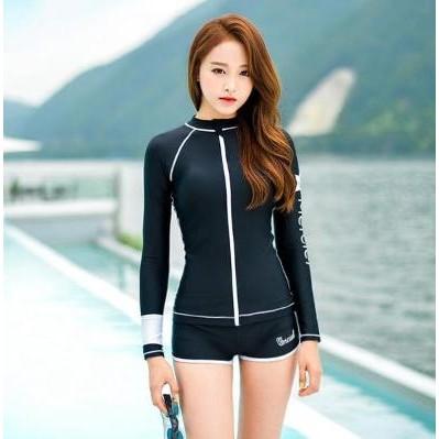 新品比基尼bikini 長袖防曬潛水衝浪黑色平角拉鍊泳衣泳裝比基尼溫泉~259a ~