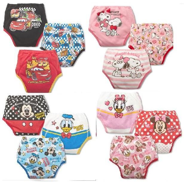 S 女學習褲防水透氣可洗寶寶內褲純棉嬰兒布尿褲隔尿褲一組3 件裝