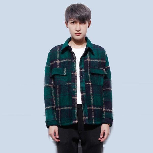 韓國男士藍綠格子大衣毛呢大衣外套男潮英倫 短版大衣