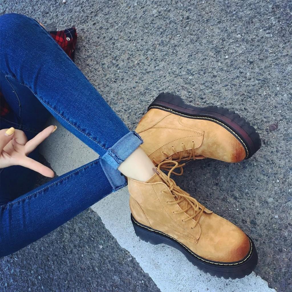 2016   鬆糕厚底磨砂繫帶馬丁靴及踝擦色短靴女靴子