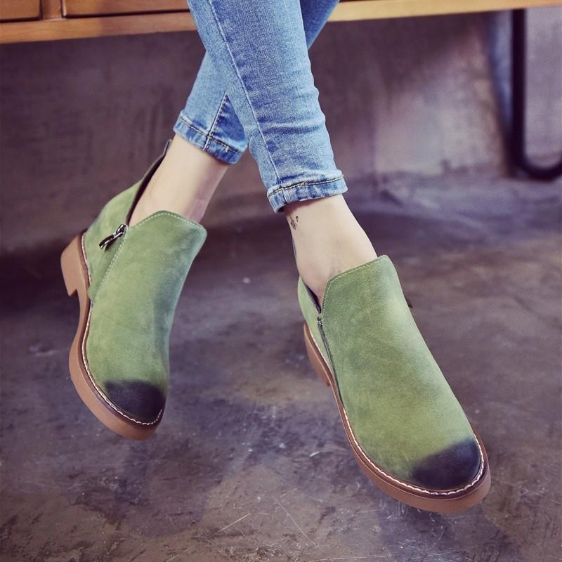 ~千惑E 閣~ 靴短靴2016 春 英倫復古皮鞋馬丁靴及踝裸靴厚底單鞋短筒靴子女潮靴子女靴