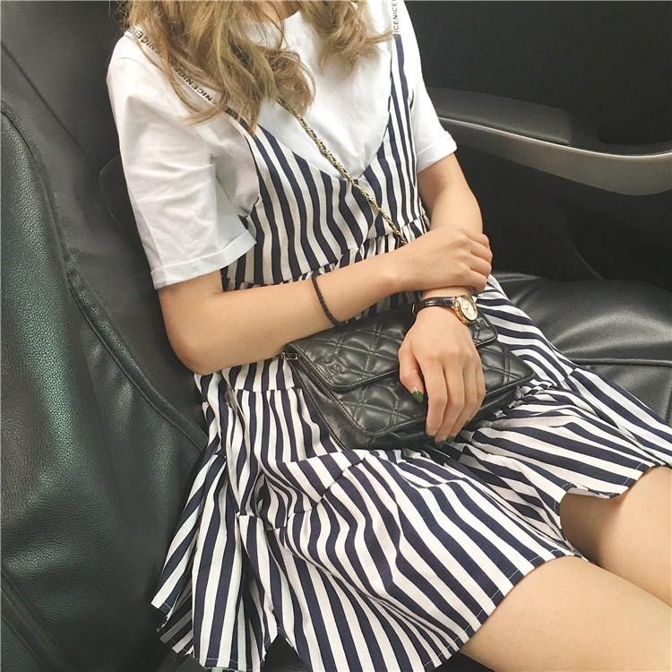 ~ 發貨~實拍百搭吊帶條紋裙小清新可愛甜美大擺裙