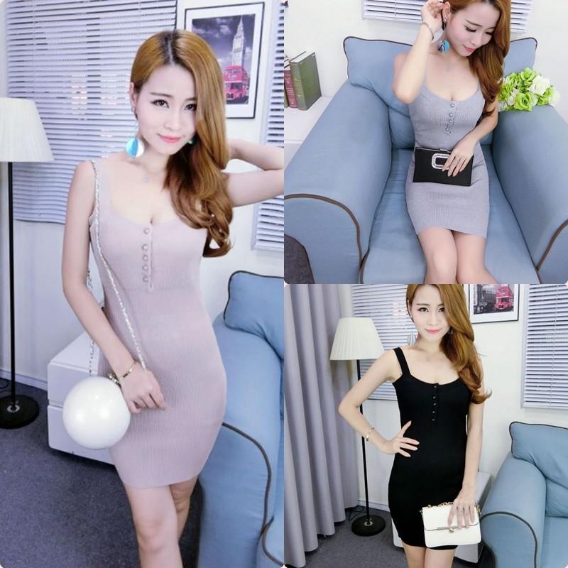 潘朵拉衣閣C160  優雅甜美名媛性感低胸吊帶針織緊身合身包臀女神連身短裙洋裝