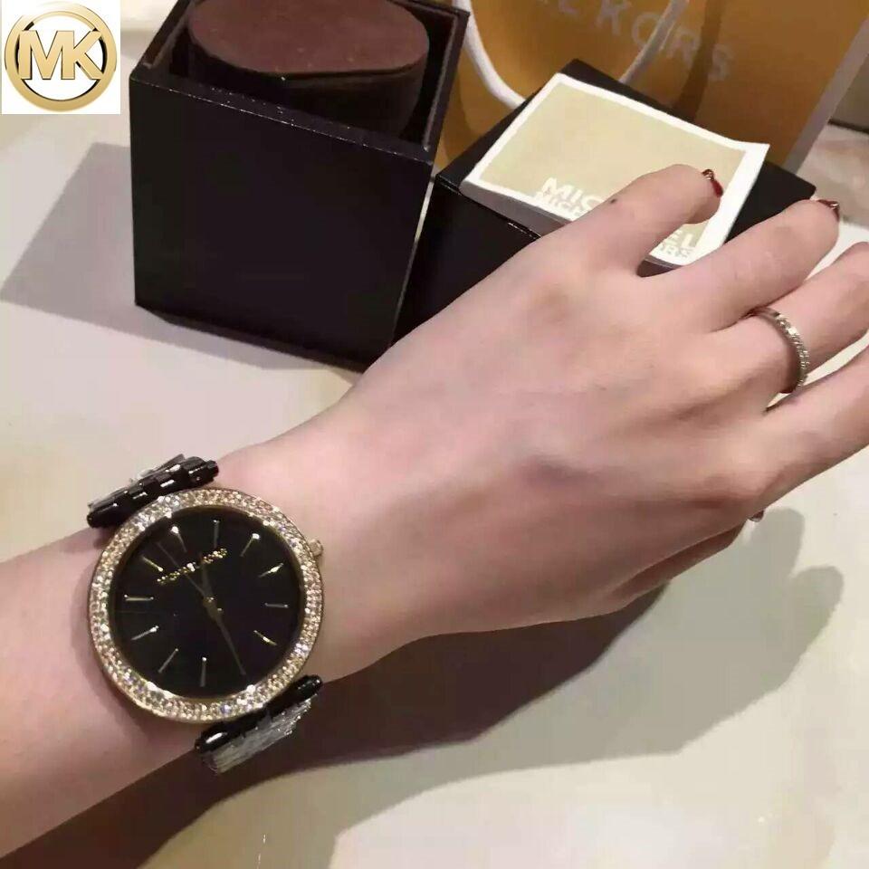 正品MICHAEL KORS 女士腕錶MK 手錶圓盤鑲鑽黑陶瓷石英女錶MK3353 MK3