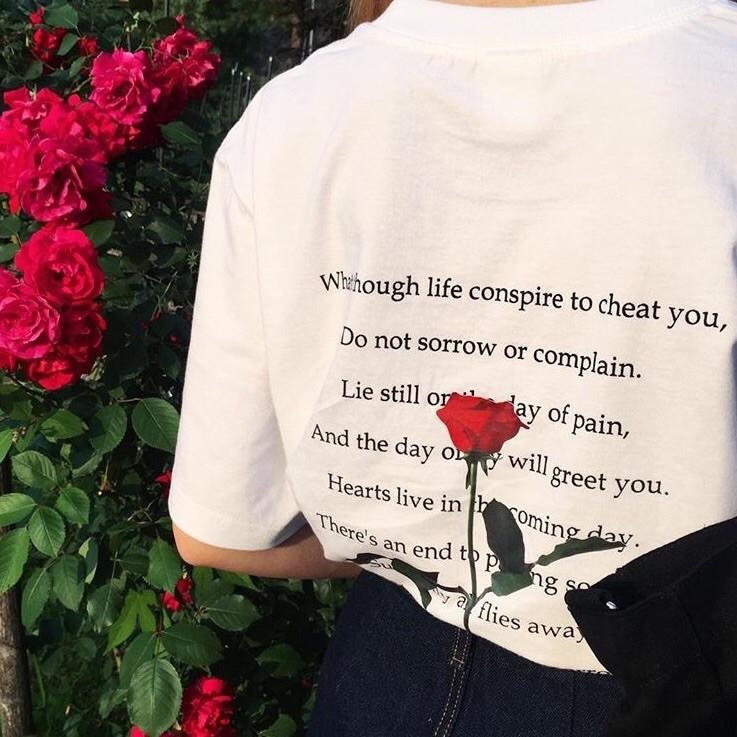 ღ2135 韓國ulzzang 原宿BF 風ins 紅人 后背玫瑰英文印花短袖t 恤潮