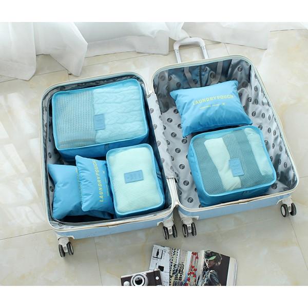 旅行出差 用品防水收納包化妝包男收納袋旅遊洗漱包女便攜套裝衣物六件組