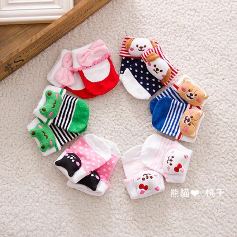 男女寶寶新生兒反折可愛卡通動物純棉防滑襪短襪嬰兒寶寶兒童0 6M 共2 款三雙一組