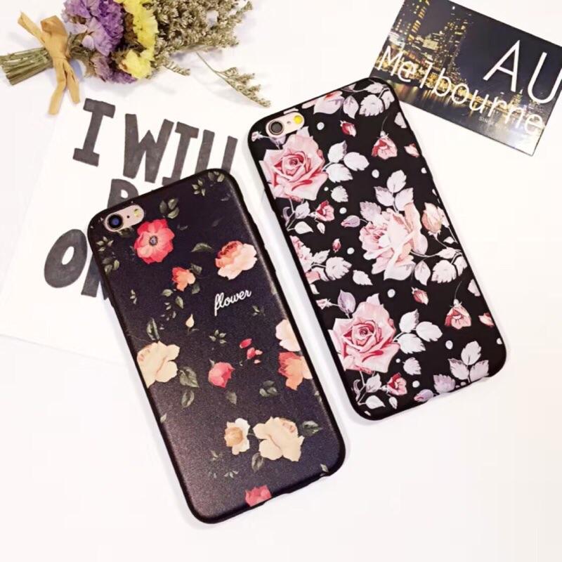 文藝花朵蘋果i6s 手機殼iPhone6 plus 保護殼 硅膠防摔磨砂超薄保護殼