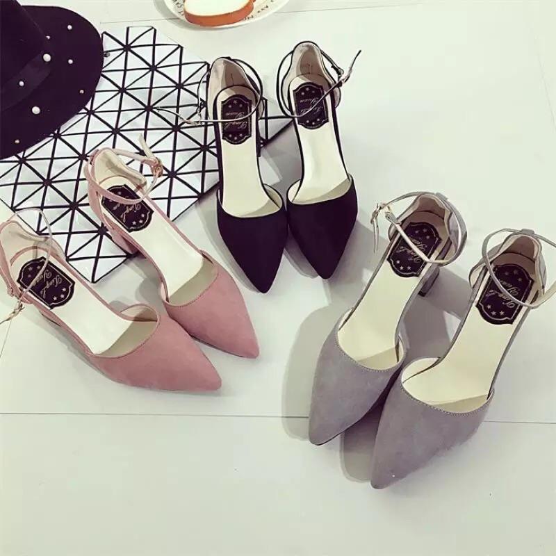 (2016 春 涼鞋 一字扣尖頭粗跟高跟鞋淺口中跟性感女單鞋