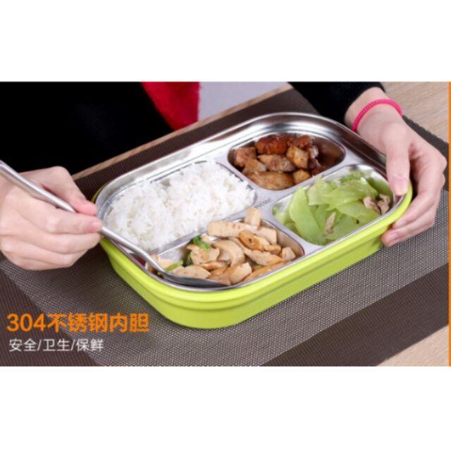 304 不銹鋼分格飯盒雙層隔熱防燙便當盒兒童學生保溫快餐盒盤帶蓋