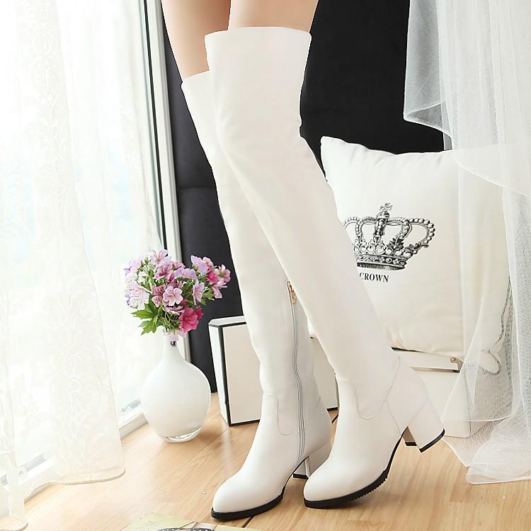 有大碼內刷毛PU 軟皮長筒過膝靴粗跟中跟騎士靴瘦腿長靴尖頭高筒靴靴子