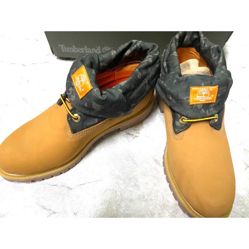 (全新)Timberland 男款小麥色磨砂革迷彩反摺靴 US9