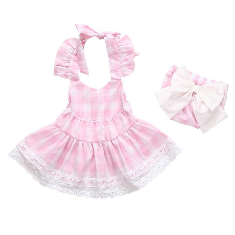 2PCS 2017 嬰兒女孩甜格子格子背帶無花花連衣裙粉色短褲套裝服裝女