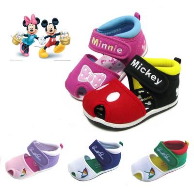 迪士尼寶寶涼鞋男女嬰兒小童透氣帆布涼鞋子可愛米奇米妮