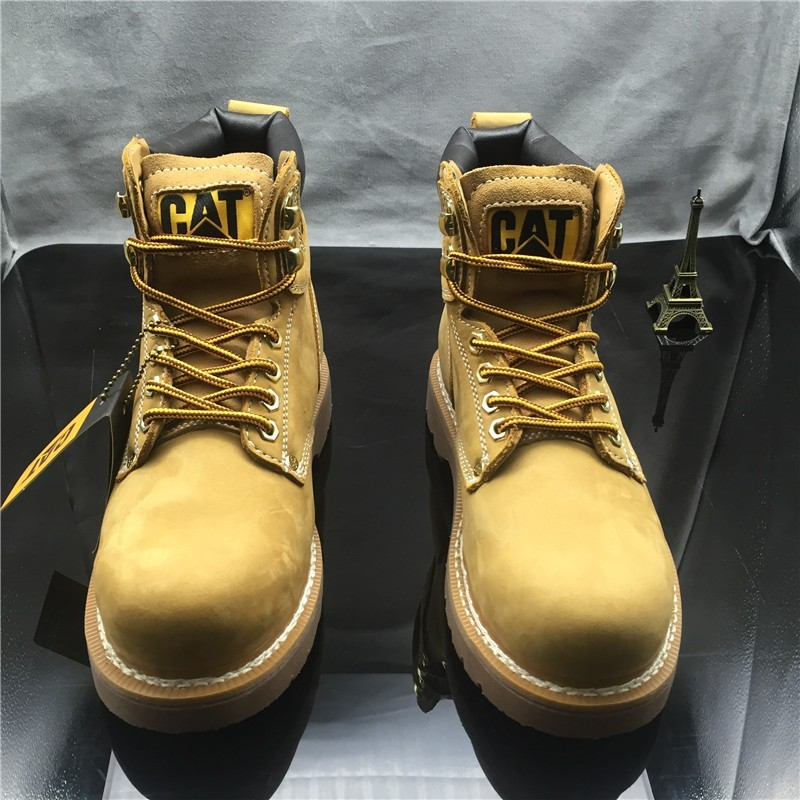 美國卡特CAT 男鞋休閒潮流高幫鞋女鞋真皮馬丁靴短靴工裝靴戶外登山鞋情侶款金屬馬丁靴 中靴
