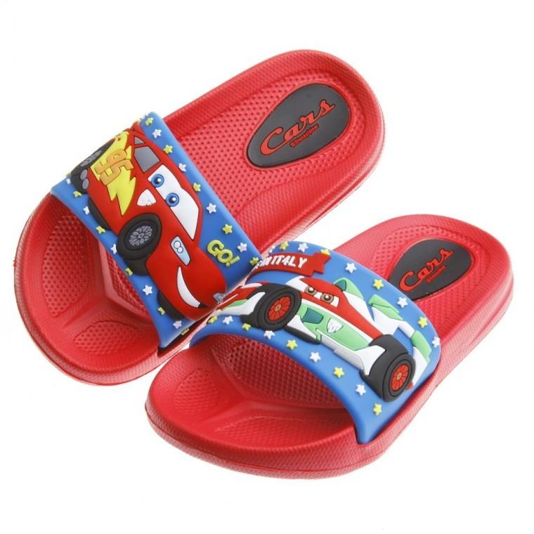 晨晨童鞋正品Cars 閃電麥坤與超哥紅色兒童超輕量輕便拖鞋