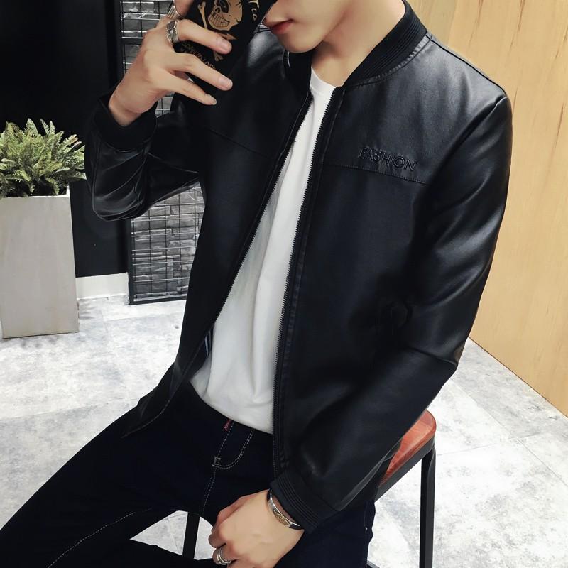 ~hello 大小姐~2016  青年夾克男外套修身立領機車PU 皮衣帥氣潮流薄款外穿