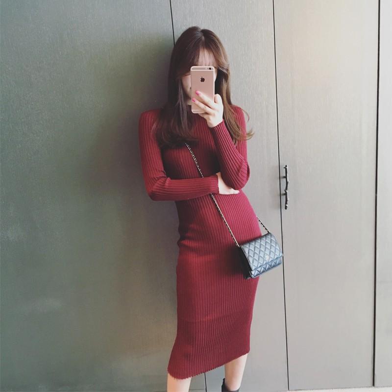 裙子 氣質修身顯瘦圓領長袖針織連衣裙長裙女裝潮