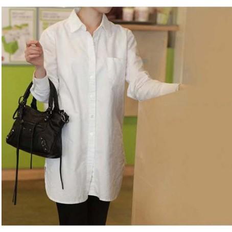 中大 襯衫~6468 ~ 簡約優雅立領修身顯瘦學院風基礎百搭氣質BF 風棉麻長袖襯衫長版上