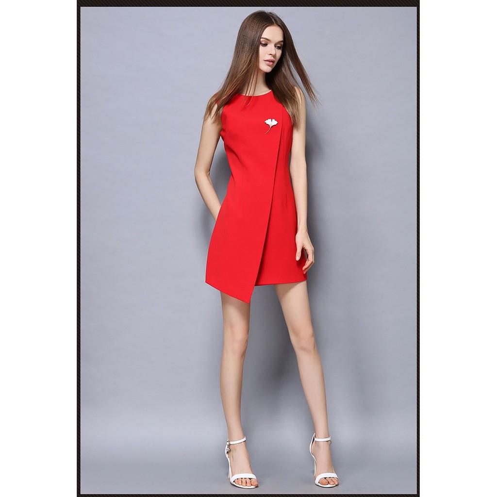 艷色動人實拍 風紅色無袖禮服連身裙洋裝F1M2011