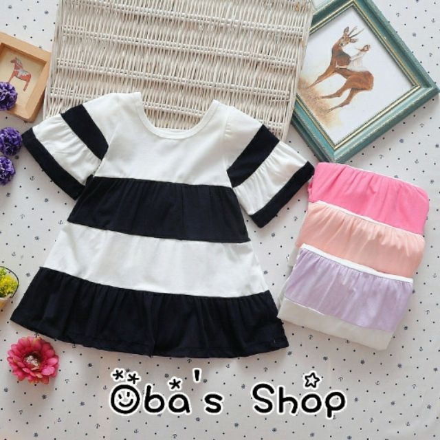 百搭 ~OBA s Shop ~女童 短袖長版上衣小洋裝百搭粉色黑色紫色桃紅