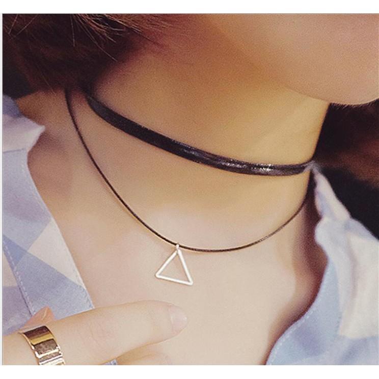 ~B S SHOP 鏤空三角形雙層頸鍊幾何圖形簡單三角短項鍊Z005