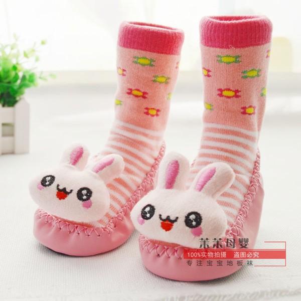 花露米 卡通響鈴寶寶地板襪 加厚兒童防滑止滑襪子學步嬰兒鞋嬰兒襪學步鞋kitty 小熊維尼