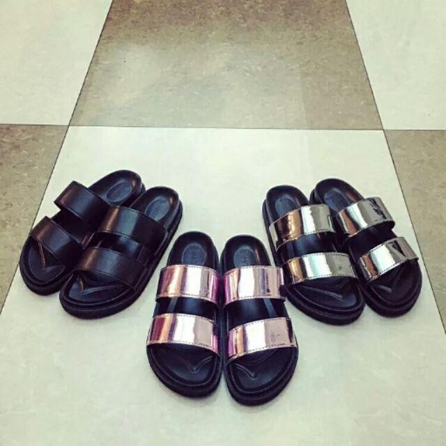 2016 时尚韩版厚底坡跟一字拖鞋女鞋防滑平底亮片沙滩凉拖鞋潮