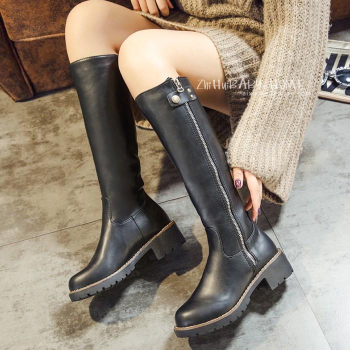 2016 秋 顯瘦粗跟長靴中跟女靴高筒靴厚底騎士靴直筒潮靴子