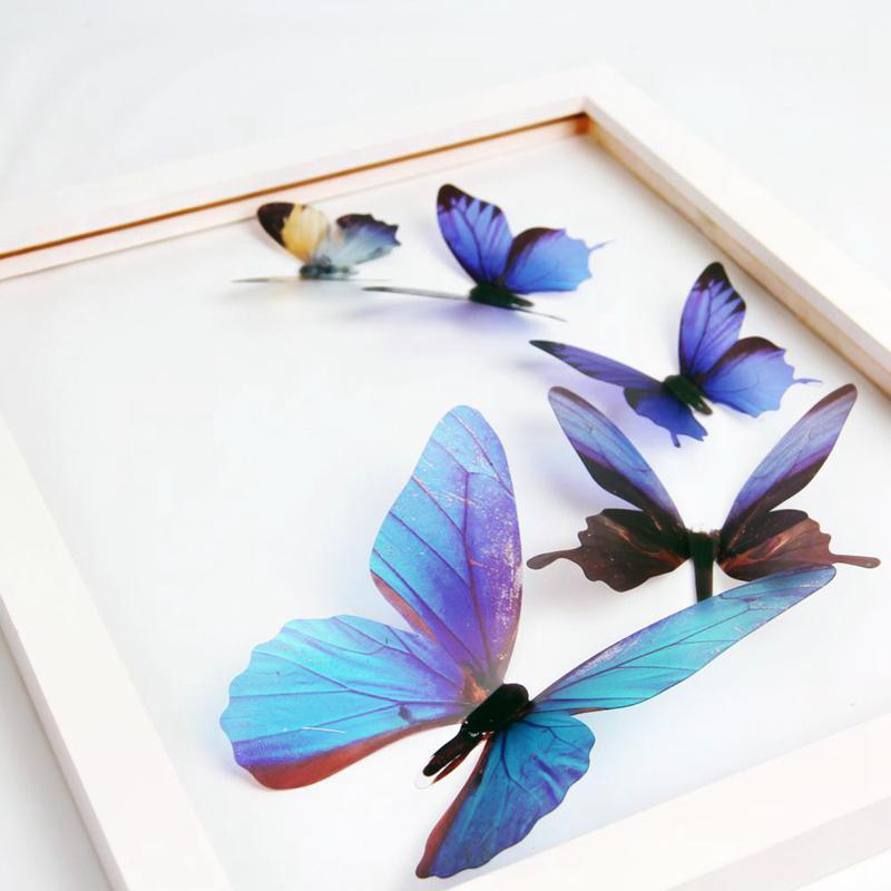 HomePlus 3D 夢幻蝴蝶藍色18 入組立體壁飾壁貼裝飾婚禮小物
