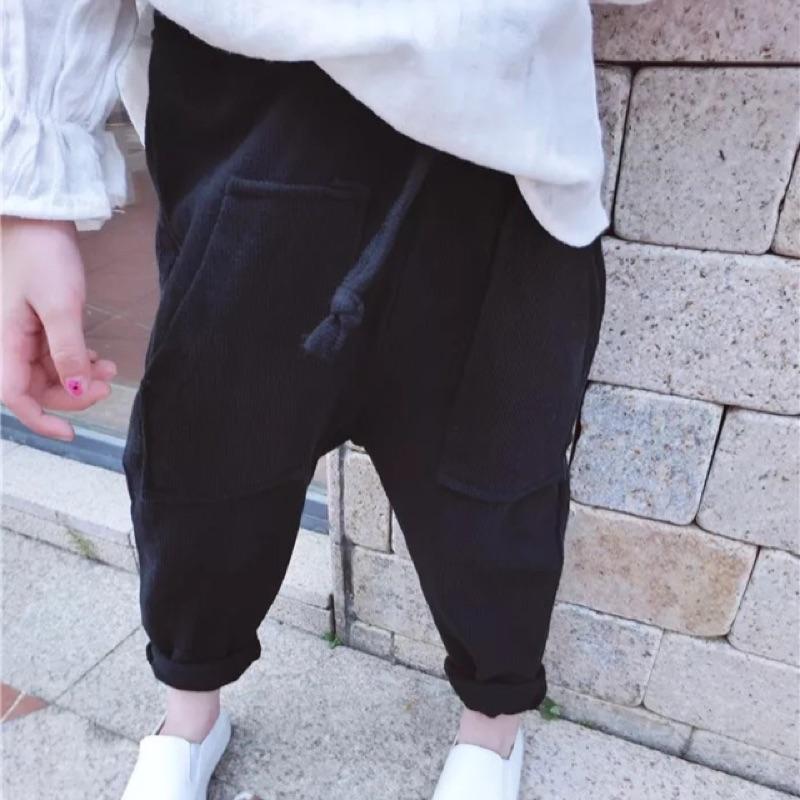 女童男童兒童寶寶小童黑色大口袋鬆緊腰綁帶哈倫褲休閒褲垮褲寬鬆