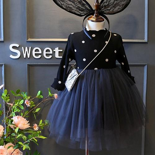 ~Dears ~兒童女童 水玉點點木耳領拼接網紗連身裙公主裙不含包包~~6113 AB ~