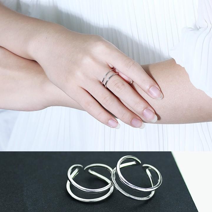 極簡雙層光面可調節日韓國潮人開口簡約氣質關節指環戒指女士食指