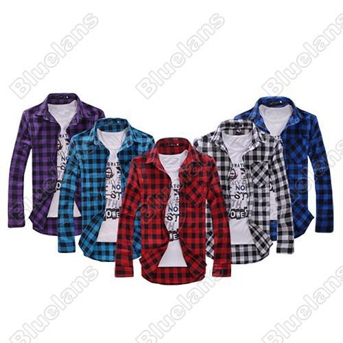 韓風男士修身休閒&格子襯衫藍色紅色黑色