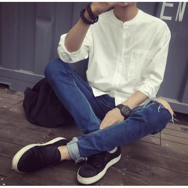 百搭小清新 2016  文藝棉麻料寬鬆立領男士白襯衫青少年純色襯衫寸衫