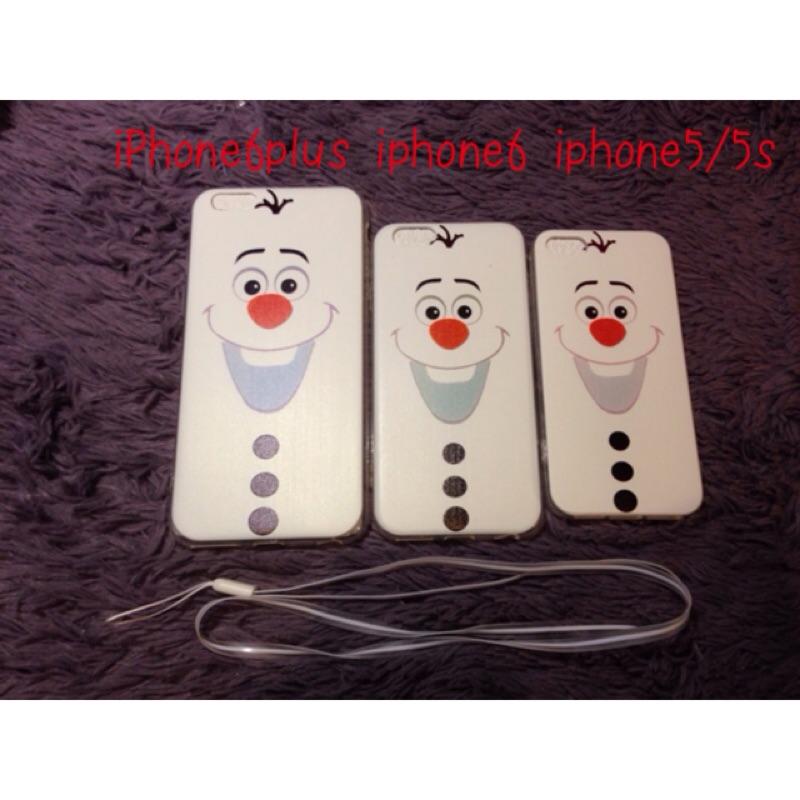 iPhone 6 plus 5 5s 附掛繩冰雪奇緣雪寶矽膠軟殼~保護套~手機殼