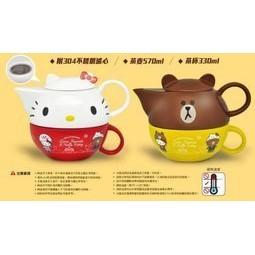 公仔收藏7 11 Hello Kitty X LINE 熊大跟kitty 茶壺組另大烤皿下