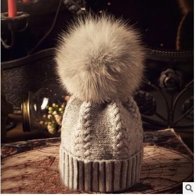【花漾女孩】 狐狸毛球羊毛麻花帽子女冬天 加厚保暖針織帽 追加