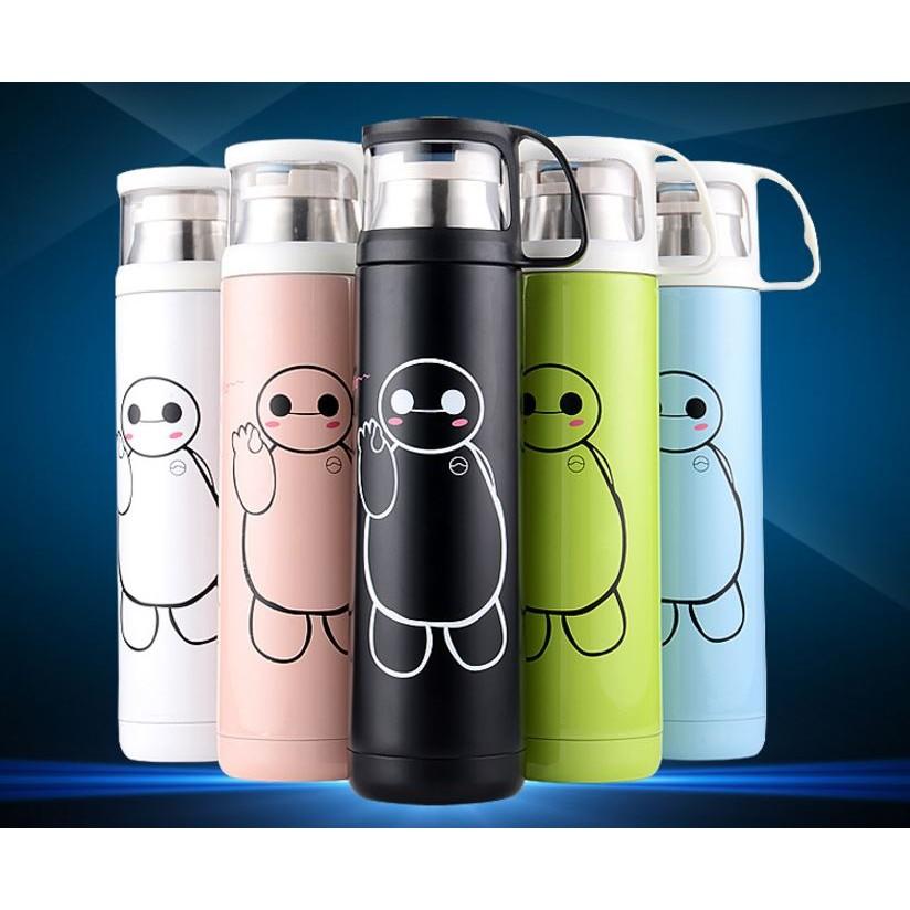 可愛卡通不鏽鋼真空保溫保冷瓶500ml 送杯套杯刷有黑色白色藍色粉紅色
