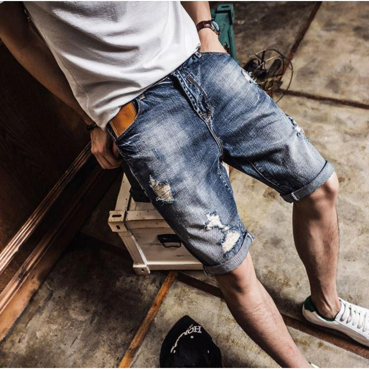~ ~破洞牛仔短褲男薄款五分褲中褲馬褲乞丐褲男士褲子復古刷破牛仔短褲男生短褲