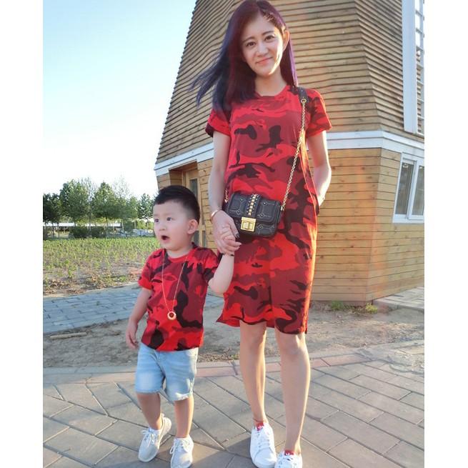 迷彩親子裝◆純棉短袖T 恤連衣裙◆一家三口家庭裝