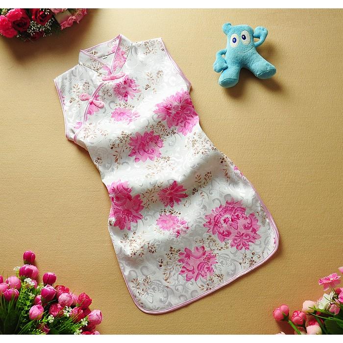 草莓媽媽女童旗袍唐裝中國服生日禮服表演服拍照服萬聖節服飾斜邊三扣款