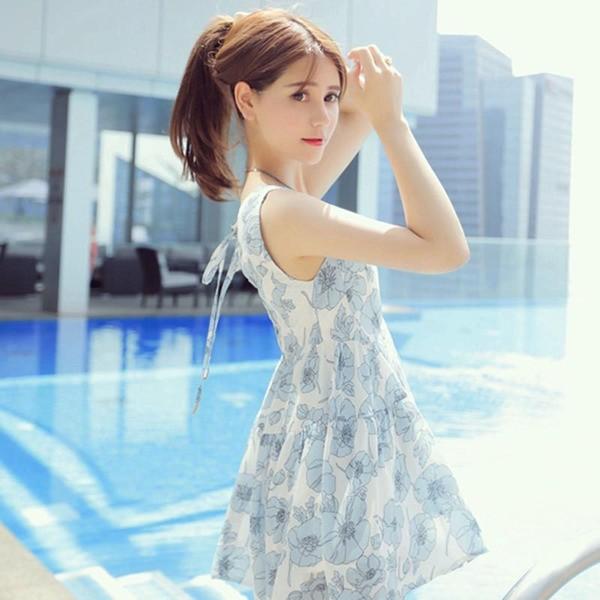 韓國氣質小清新藍色碎花顯瘦兩件套裝連身裙洋裝短褲
